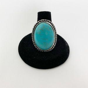 Turquoise Silver Boho Fashion Ring #1